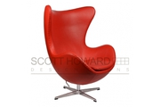 Кресло Arne Jacobsen Style Egg Chair Premium красная кожа